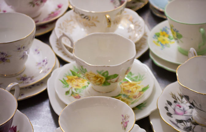 A collection of fine china tea cups and saucers