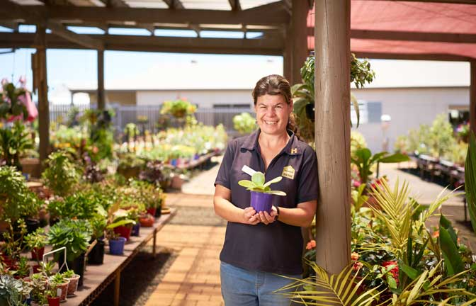 A smiling worker holds a plant in a nursery
