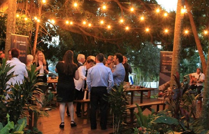 Corporate event in the fig tree deck